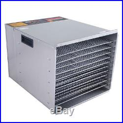 10 Tray Commercial Stainless Steel Dry Food Fruit Dehydrator Heat Blower Dryer