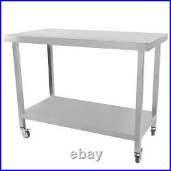 115x90cm Stainless Steel Kitchen Work Table Restaurant Commercial With Wheels