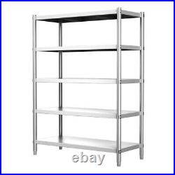120cm Wide Commercial Kitchen Storage Shelf 5 Tier Stainless Steel Shelving Rack