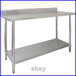 120x60cm Stainless Steel Commercial Catering Table Kitchen WorkTop Prep Table