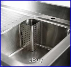 1400mm x 600mm Commercial Stainless Steel Catering LHD Double Bowl Sink
