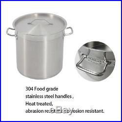 17-98L Commercial Stainless Steel Soup Cater Stewing Stock Pot Boiling Pan Lid