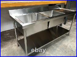 1800mm Stainless steel commercial kitchen double bowl right hand drainer sink