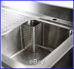 1M Commercial Kitchen Catering Stainless Steel Single Bowl Sink Left Hand Drain