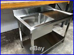 1.2m 1200mm Stainless steel commercial catering kitchen single bowl sink