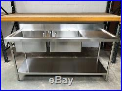 1.5m 1500mm Stainless steel commercial catering kitchen double bowl sink unit