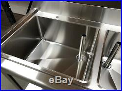 1.8m 1800mm Stainless steel commercial catering kitchen double bowl sink unit