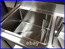 1.8m Stainless steel commercial kitchen double bowl right hand drainer sink
