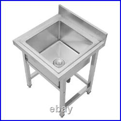 1 Compartment Stainless Steel Commercial Kitchen Prep Table Deep Sink Catering