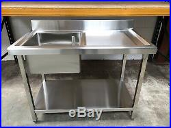 1m 1000mm Stainless steel commercial catering kitchen single bowl sink unit