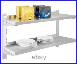 2 Tier Stainless Steel Shelves Commercial Kitchen Wall Shelf with Brackets Shelves