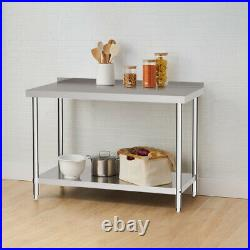 2 Tier Stainless Steel Work Bench Catering Table Commercial Kitchen Prep Worktop