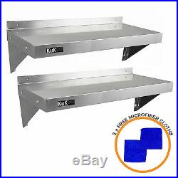 2 x Commercial Catering Stainless Steel Shelves Kitchen Wall Shelf 900 1940mm