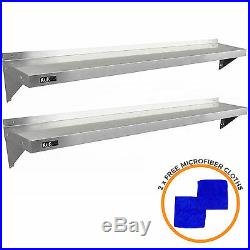 2 x Commercial Catering Stainless Steel Shelves Kitchen Wall Shelf Metal 1940mm