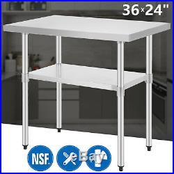 2x3FT Stainless Steel Commercial Catering Table Work Bench Kitchen Worktop