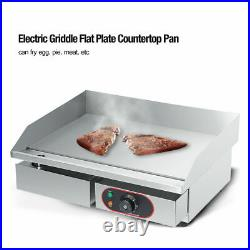 3000W Commercial Electric Griddle Kitchen Hotplate Countertop BBQ Grill Bacon UK