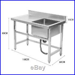 304Steel Kitchen Sink 1Bowl with Drainboard Commercial Prep Work Table Waste Set