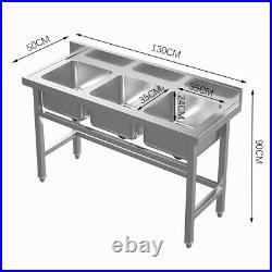 3 Compartment BOWL SINK Kitchen Prep Workstation Sink Stainless Steel Commercial