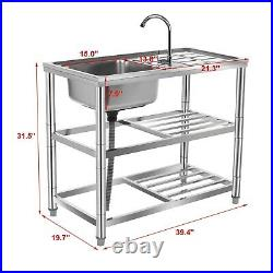 3-Tier Commercial Catering Kitchen Stainless Steel Sink Single Bowl Left Hand