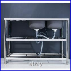 3 Tier Commercial Catering Kitchen Stainless steel Sink Double Bowl Right Hand