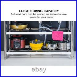 3-Tier Commercial Catering Kitchen Stainless steel Sink Double Bowl Right Hand