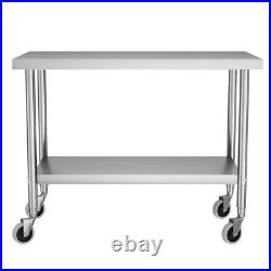 42ft Commercial Stainless Steel Pre Table Kitchen Catering Work Bench withWheels