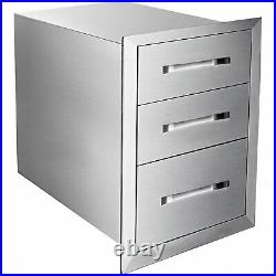 45x58 cm Stainless Steel Kitchen 3-layer Drawers Outdoor BBQ Storage Commercial