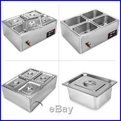 4 pots Wet Well Bain Marie Electric Sauce Food Warmer Commercial Stainless Pans