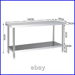 5ft Mobile Commercial Catering Table Stainless Steel Work Bench Kitchen Worktop