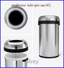 60L /16gal Bullet Open Trash Can Commercial Grade Heavy-Gauge Stainless Steel