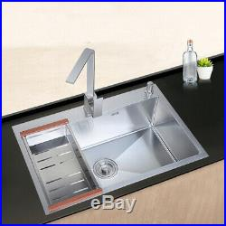 60x45cm Stainless Steel Top Mount Single Bowl Basin Kitchen Sink Commercial