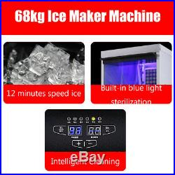 68KG/150Lbs Commercial Ice Cube Maker Stainless steel Machine AU Plug 220-240V