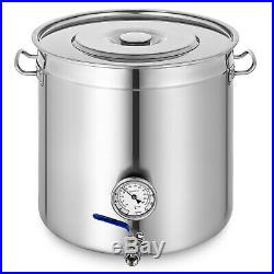70 L Stainless Steel Stock Pot withThermometer Commercial Cater Stew Soup Cooker