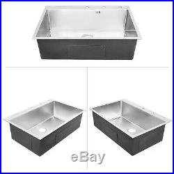 8455cm Stainless Steel Kitchen Sink Single Bowl Commercial Hotel Wash Basin