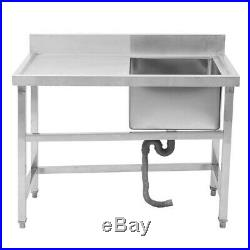 Catering Kitchen Prep With Single Sink Drainer Waste Stainless Steel Commercial