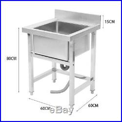 Catering Kitchen Sink Single Bowl Stainless Steel Pot Wash Table Commercial 60cm