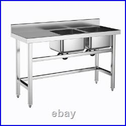 Catering Kitchen Sink Stainless Steel Double Bowl Commercial Left Hand Drainer