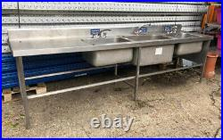 Catering Kitchen Sink Stainless Steel Triple Bowl Commercial Left Hand Drainer