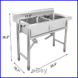 Catering Sink Commercial Stainless Steel Kitchen Double Bowl Drainer Unit