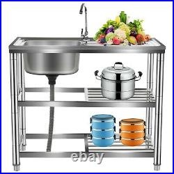 Catering Sink Commercial Stainless Steel Kitchen Single Bowl Drainer Unit & Tap