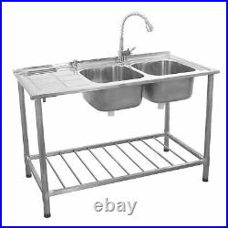 Catering Sink Stainless Steel Double Bowl Commercial Kitchen Left Hand B0285