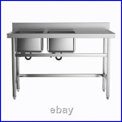 Catering Sink Stainless Steel Double Bowl Commercial Kitchen Right Hand Drainer
