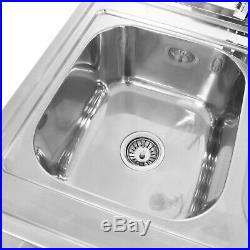 Catering Sink Stainless Steel Kitchen Commercial Double Bowl Right Hand Drainer