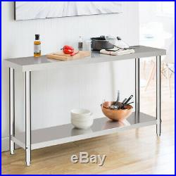 Catering Table Stainless Steel 5x2FT with Backsplash Commercial Dining Work Bench