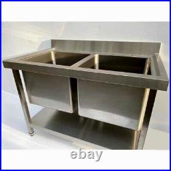 Commercial 304 Stainless Steel Catering Kitchen Sink Double Bowl Deep Pot Wash