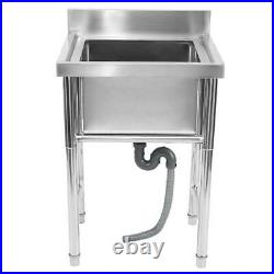 Commercial 304 Stainless Steel Kitchen Sink Catering Single Sink Countertop