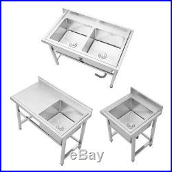 Commercial Catering Deep Sink Stainless Steel Single/Double Bowl Kitchen Drainer