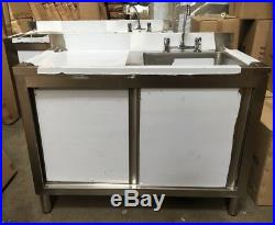 Commercial Catering Kitchen Stainless Sink Cupboard, Single bowl, Left Hand 1.2m