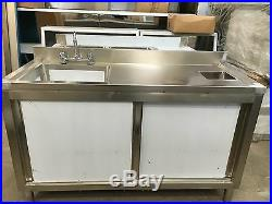 Commercial Catering Kitchen Stainless Sink Cupboard, Single bowl, Left Hand 1.5m