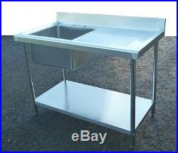Commercial Catering Kitchen Stainless Steel Sink 120cm Single Bowl 3.95ft 1200mm